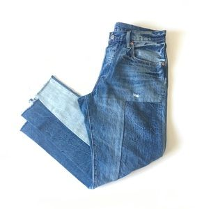 LEVIS 501 Patchwork Button Fly Distressed Denim